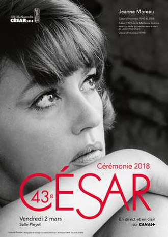 43rd César Awards - Official poster featuring a photo of actress, Jeanne Moreau, taken during filming of The Bride Wore Black (1968) by Marilù Parolini