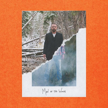 The cover image features two images of a male, edited to appear as one. Top-diagonal-half image features male in all-black suit and white undershirt, in a snow-covered wooded area. Bottom-diagonal-half image features male in ripped blue jeans, flannel button down shirt in a smog-filled wooded area. Below this title: MAN OF THE WOODS, appears in capitalised handwritten print.