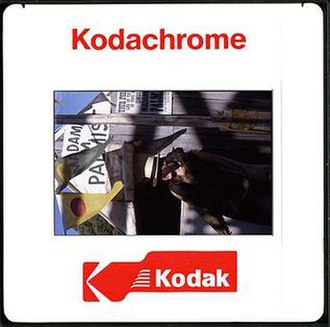 Kodachrome - A typical plastic 35mm Kodachrome slide from the 1990s showing logo and text on the reverse side.