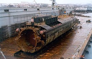 Kursk submarine disaster - Wreck of K-141 Kursk in a floating dock at Roslyakovo
