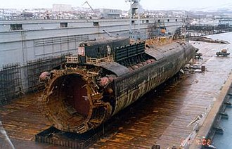 Kursk submarine disaster - Wreck of K-141 Kursk in a floating dock at Roslyakovo