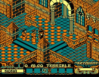 La Abadía del Crimen - The main characters (Guillermo, Adso and the Abbot) appear in this Amstrad CPC 6128 screenshot.