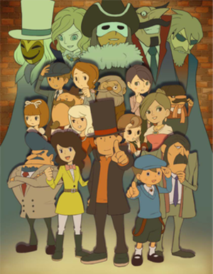 Professor Layton - Artwork from Professor Layton Royale, showing many characters from the series.