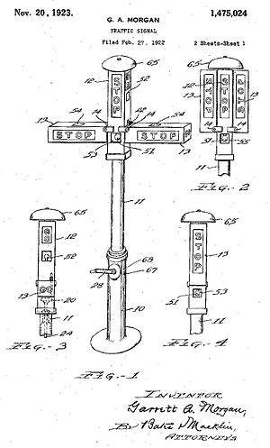 Garrett Morgan - Patent drawing of Morgan's signal