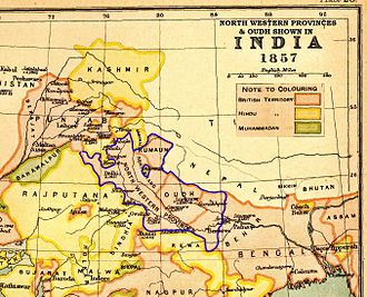 North-Western Provinces - A map showing the new province of North-Western Provinces and Oudh in 1857