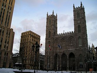 Place-d'Armes station - Place d'Armes and Notre-Dame Basilica in winter