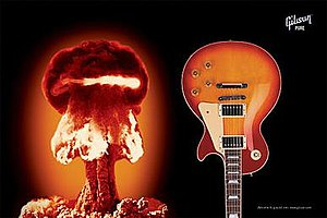 Nuclear weapons in popular culture - The mushroom cloud is familiar enough to be treated with humor in a Les Paul advertising campaign.