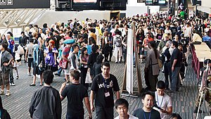 Otakuthon - View of the main hallway of the Palais des Congrès during Otakuthon 2011, with some attendees in cosplay