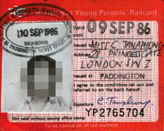 16–25 Railcard - Pre-APTIS version of the Railcard, issued in 1985; the design had been largely unchanged since the Railcard was introduced. (Photograph obscured)