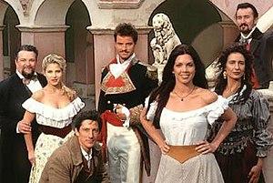 Queen of Swords (TV series) - Left to right: Tacho Gonzalez, Elsa Pataky, Peter Wingfield, Anthony Lemke, Tessie Santiago, Paulina Galvez, Valentine Pelka
