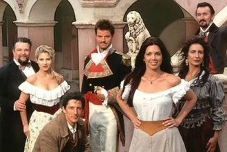 Queen of Swords (TV series) - Left to right: Tacho Gonzalez, Elsa Pataky, Peter Wingfield, Anthony Lemke, Tessie Santiago, Paulina Gálvez, Valentine Pelka