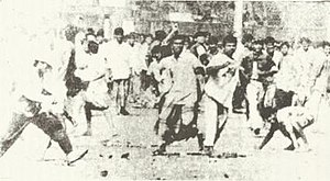 1964 East Pakistan riots - Rioters attacking the Dhakeshwari Temple in Dhaka