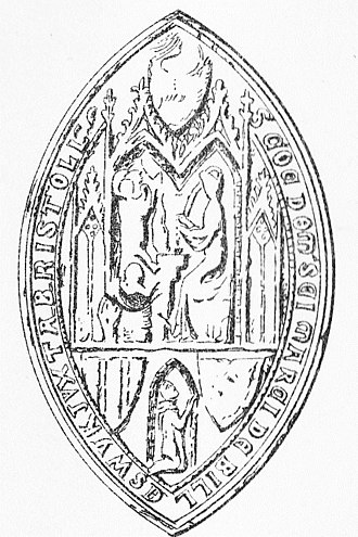 """St Mark's Church, Bristol - Seal of The Gaunt's Hospital, Bristol. Legend in Lombardic capitals: S(IGILLUM) CO(MMUN)E DOM(US) S(AN)C(T)I MARCI(I) DE BILLESWYK JUXTA BRISTOLL(IAM) (""""The common seal of the House of St Mark of Billeswyk-by-Bristol""""). The upper 2/3 consists of 2 gothic niches, the right hand one containing the figure of St Mark seated at a desk writing his gospel. In the niche opposite is a lion, the evangelist's emblem, sejant rampant. In the lower 1/3 within a simple lancet shaped niche is the kneeling figure of the donor with hands together in prayer, looking above right towards the saint in supplication. There are 3 heater-shaped escutcheons, the former heraldic designs on which have been worn away"""
