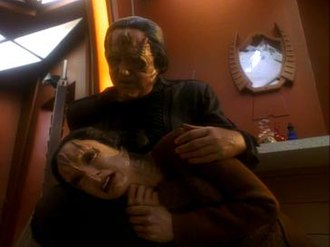 "Second Skin (Star Trek: Deep Space Nine) - Kira consoled by her Cardassian ""father"""