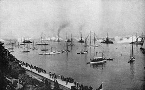 King George V-class battleship (1911) - British and German ships saluting Kaiser Wilhelm II, Kiel, 24 June 1914; the four King George V-class ships are in the center background