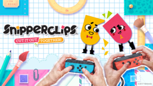 Snipperclips - Promotional image showing the main characters, Snip and Clip