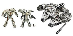 Star Wars Transformers - The Transformer figures of Chewbacca (left) and Han Solo (center) combine to create the Millennium Falcon.