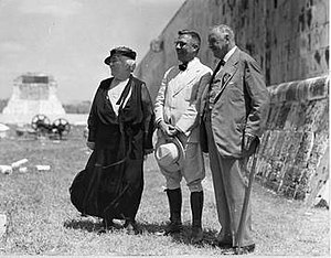 Sylvanus Morley - Morley with Addie Worth Bagley Daniels and Josephus Daniels at Chichen Itza.