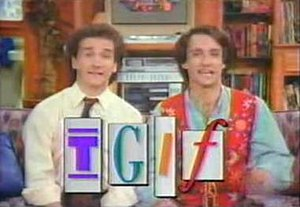 TGIF (ABC) - Larry Appleton (Mark Linn-Baker) and Balki Bartokomous (Bronson Pinchot) during an interstitial for TGIF (1989)