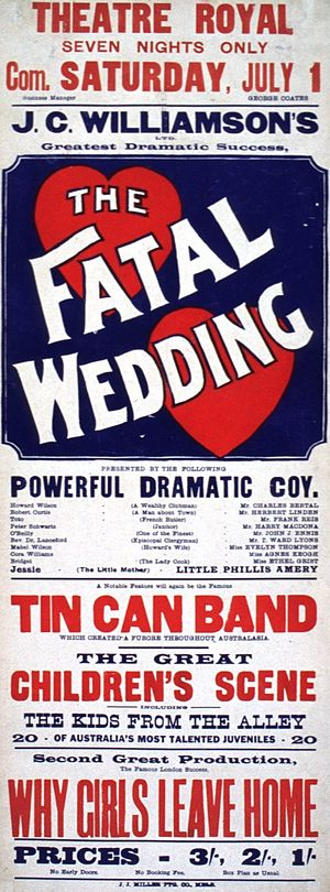 The Fatal Wedding - Poster from early Australian production of play