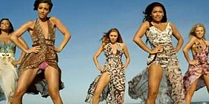 "Missing You (The Saturdays song) - One frame of the video for ""Missing You"" where The Saturdays are seen in Summer maxi dresses, dancing on the beach in Málaga."