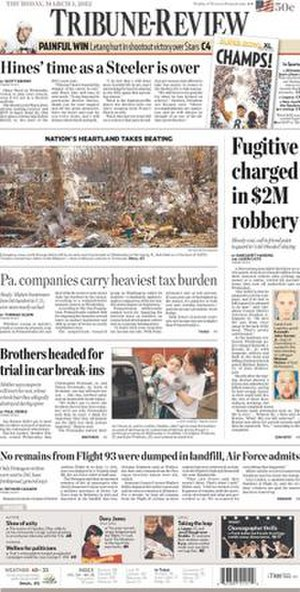 Pittsburgh Tribune-Review - Image: Tribune Review front page