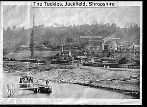 The Tuckies, Jackfield, Shropshire - The Tuckies c.1900 showing The Duke of Wellington Inn
