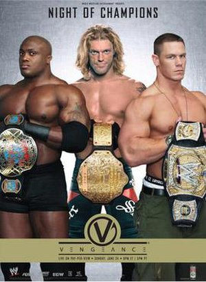 Vengeance: Night of Champions - Promotional poster featuring Bobby Lashley holding the ECW World Championship (left), Edge holding the World Heavyweight Championship (center) and John Cena holding the WWE Championship (right)