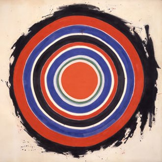 Color field - Kenneth Noland, Beginning, 1958, magna on canvas painting, Hirshhorn Museum and Sculpture Garden. Working in Washington, DC.,  Kenneth Noland was a pioneer of the color field movement in the late 1950s.