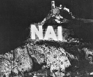 "Greek republic referendum, 1973 - Illuminated ""YES"" sign on Mount Lycabettus, installed by the junta as part of its all-pervasive ""YES"" campaign before the referendum"