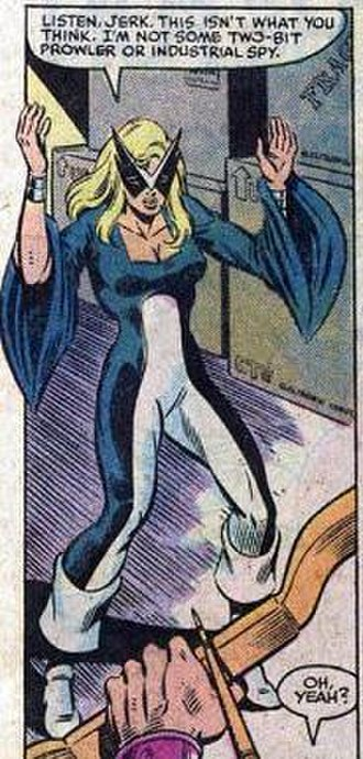 Mockingbird (Marvel Comics) - Mockingbird encounters Hawkeye. Art by Mark Gruenwald.