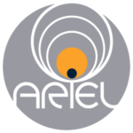 "A grey opaque circle with the word ""ARIEL"" written in white across the circle's bottom half. A series of concentric circles close in on the black-colored dot in the ""I"", with the last circle colored yellow, representing an exoplanet transiting in front of a star."