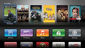 Apple TV - The user interface used in the third generation Apple TV series featured a rounded rectangle tile interface.