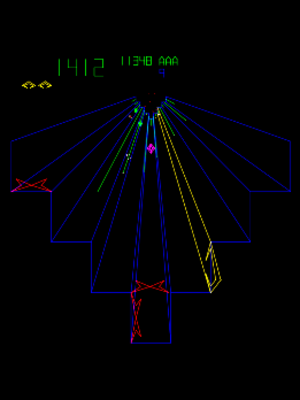 Tempest (video game) - Gameplay screenshot of the ninth level.