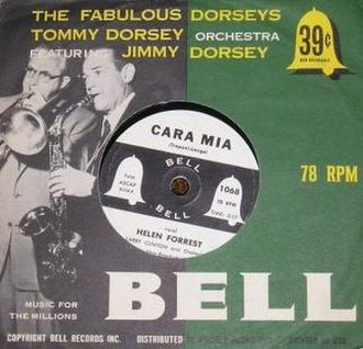 "Bell Records - 7-inch 78 of ""Cara Mia"" by Helen Forrest for 39 cents, in a sleeve promoting the Dorsey brothers"