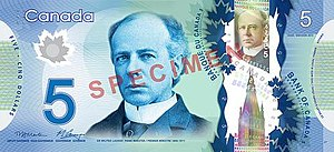 Canadian five-dollar note - Image: Canadian $5 note specimen face