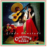 """Linda Ronstadt, ca. 1987, on the cover of the Grammy winning album and 2X platinum certified Canciones de Mi Padre - """"My Father's Songs.""""."""