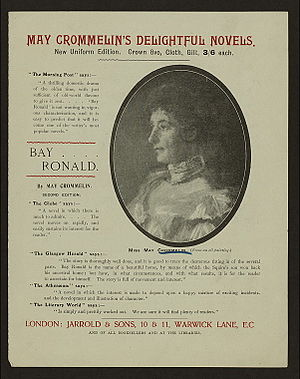 "May Crommelin - 1899 poster advertising Bay Ronald, a ""thrilling domestic drama"", with photograph of an oil portrait of May de la Cherois Crommelin."