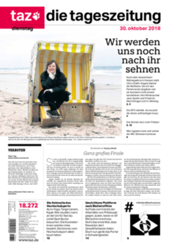 Die Tageszeitung - The 30 October 2018 front page of Die Tageszeitung