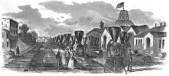 """Jackson's operations against the B&O Railroad (1861) - """"Locomotives Dismantled By the Rebels at Martinsburg, Virginia"""" in August 1861 Harpers Weekly"""