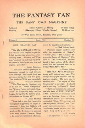 Fantasy Fan - The Fantasy Fan Vol 1 No 10, cover dated June 1934