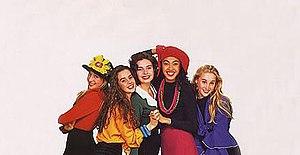 Girlfriend (band) - Girlfriend left to right: Lorrinda Noble, Melanie Alexander, Jacqui Cowell, Robyn Loau and Siobhan Heidnreich.
