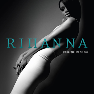 A young woman with black hair which is covering one of her eyes, wearing a white dress is posing in front of a black background. In the middle of the picture the word 'Rihanna' is written in blue-greenish capital letters. Under it 'Good Girl Gone Bad' is written in white letters.
