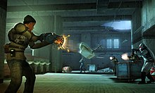 In the foreground, a woman from Half-Life 2: Deathmatch holds a weapon which is glowing orange. A damaged toilet is being held in mid-air by the gun, pointed at gun-wielding enemies in the background.