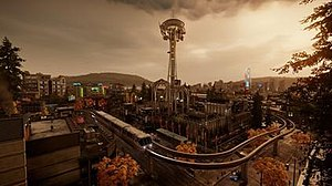 A screenshot of the game world's Seattle skyline, with the Space Needle depicted in the center. Lighting, draw distances and weather effects are visible.