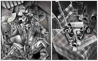 L'Oiseau bleu (Metzinger) - Jean Metzinger, 1912-13, L'Oiseau Bleu vs Juan Gris, 1915, Still Life with Checked Tablecloth (black and white)