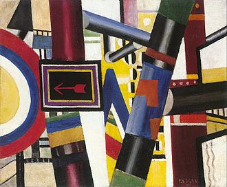 Tubism - Fernand Léger, The Railway Crossing, 1919, oil on canvas, 53.8 x 64.8 cm, The Art Institute of Chicago, an example of Tubism