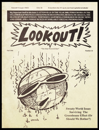 Lookout! Records - Cover of the Summer 1988 issue of Lookout! magazine, published in Laytonville, California by Lawrence Livermore.
