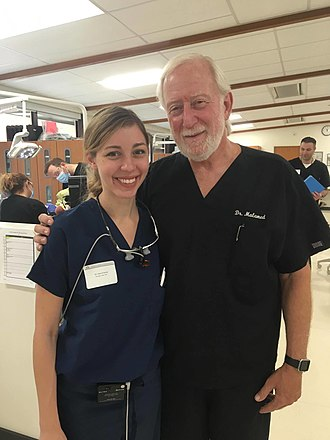 Stanley Malamed - Malamed with an attendee of an   IV sedation course, September 2017