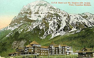 Christian Kaufmann (alpine guide) - CPR Mount Stephen House in Field was a home base for many mountaineers.